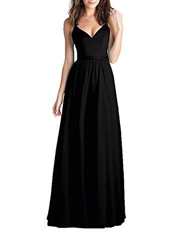 Bowith Élégante Robe De Soirée Formelle Longue À Sequins Noir