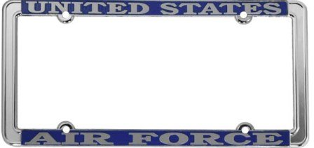 U.S. Air Force Thin Rim License Plate Frame (Chrome Metal)