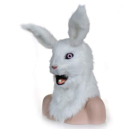 Meipa Time Maschera del Costume del Copricapo del Coniglio della Pelliccia Falsa del Coniglio della Maschera della Testa commovente della Testa Bianca del Coniglio per Il Costume di Halloween