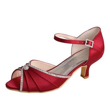 Satin Peep Toe Dress Sandal (Wedopus MW033B Women's Peep Toe Mary Jane Low Heel Pleated Rhinestones Satin Wedding Prom Shoes Size 5 Wine Red)