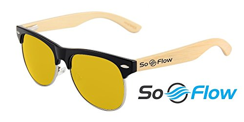 SoFlow 2018 Yellow Polarized Half Frame Wood Sunglasses for Men or Women - Wooden Bamboo - Cool Pool or Beach Sunglasses - Yellow Lens - Semi Rimless - Wood Framed Sunglasses