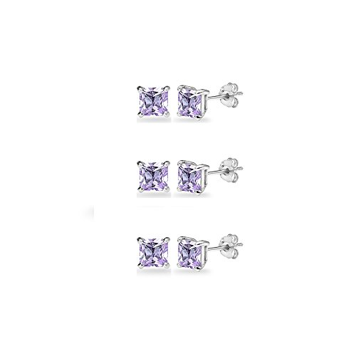 3-Pair Set Sterling Silver Amethyst Princess-Cut 5mm Square Stud Earrings