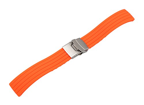 Watch Strap Smart Watch Bracelet Silicone in Orange with Fold-Over Clasp with Safety ()