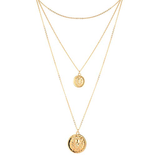 Women's Gold Tone Coin Disc Necklace Hollow Flower/Butterfly/Bee/Heart Pendant Cut Out Stainless Steel Disc Necklace (Lion Layered)