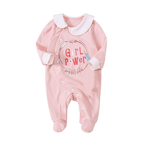 pureborn Infant Baby Girls Footies Collar One-Piece Cotton Sleep and Play Pink 0-3 Months
