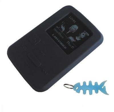 HappyZone - Silicone Skin Case-Black and Fishbone Style Keychain for SanDisk Sansa Clip Zip-4 GB / 8GB MP3 - 8 Gb Black Silicone