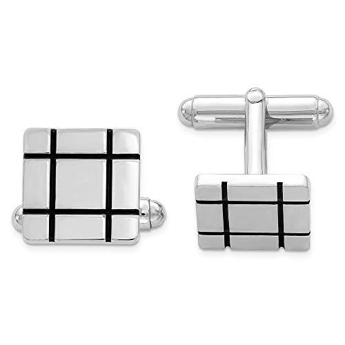 925 Sterling Silver Men's Black Enamel Grooved Design Square Cuff Links