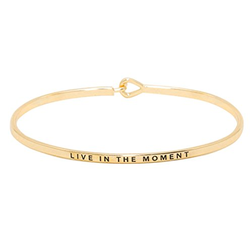 Rosemarie Collections Women's Thin Hook Bangle Bracelet Live in The Moment (Gold Tone)