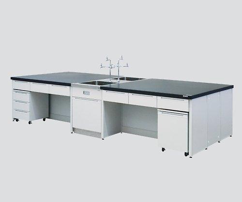 アズワン3-3817-03中央実験台引出し付きユニット付きフレーム型対面流し台付き3000×1500×800  B07BD22THX