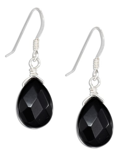 Sterling Silver Faceted Onyx Teardrop Earrings on French Wires