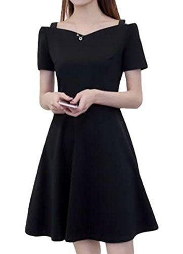 わずかな組み合わせる利用可能ELPIS レディースワンピース ミニ Aライン かわいい 無地 ヘップバーンドレス 半袖 ブラック L