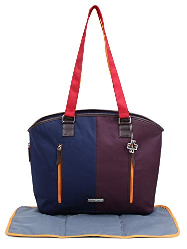 My Milestones Diaper Bag Ladylike with Changing Mat  Navy/Wine