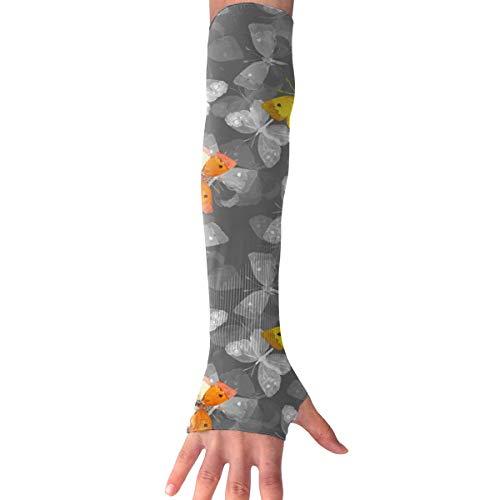 MASDUIH Butterflies Gloves Anti-uv Sun Protection Long Fingerless Arm Cooling Sleeve