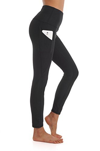 ZEROGSC Women's Yoga Pants - Workout Running Tummy Control Stretch Power Flex Long/Capris Leggings With Out Pockets (YPW111-Black-Medium)