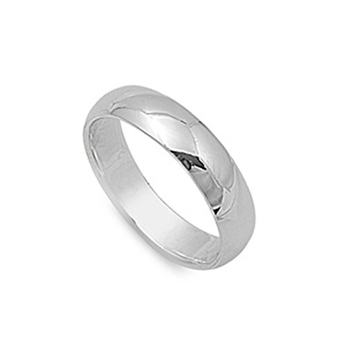 Plain 5mm Band Ring Wedding (Sterling Silver Wedding 5mm Band Plain Comfort Fit Ring Solid 925 Size 8)