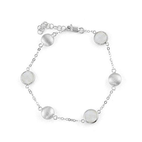 925 Sterling Silver Chain Bracelet Large Round Stations and Bezel Gemstones, 7