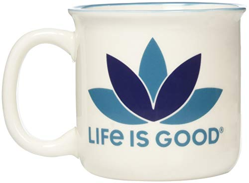 Life is Good Happy Camper Mug Life is Good Lotus, Could White, One Size