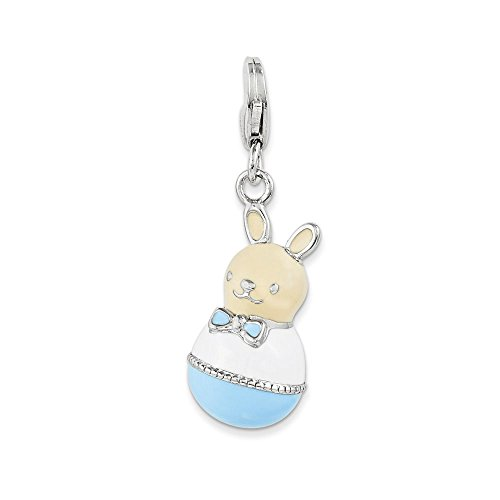 Sterling Silver Enameled Bunny Charm w/Lobster Clasp