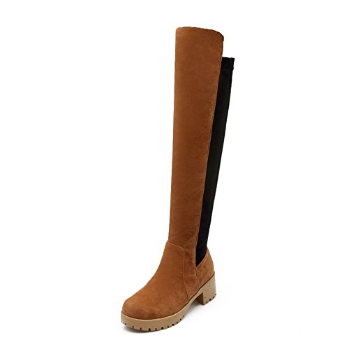 AgooLar Women's Round Closed Toe Kitten-Heels Soft Material High-top Assorted Color Boots Brown