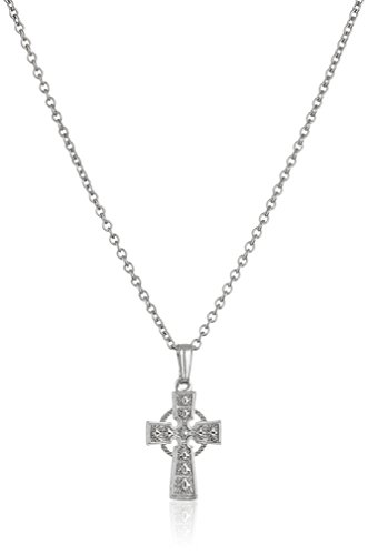 - Girls' Children's Sterling Silver Celtic Cross Pendant Necklace, 15