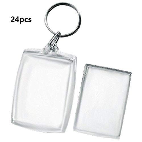 King&Pig 24pcs Key Chains Key Rings with Transparent Clear  rectangle Picture Photo Frames can open - Luggage Tag Picture Frame
