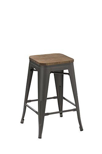 BTEXPERT 24-inch Industrial Tabouret Antique Distressed Gunmetal Stackable Dining Metal Bar Stools Handmade Wood top seat Set of Two