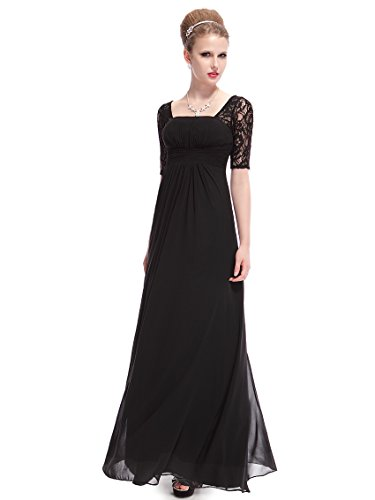HE08038BK18, Black, 16US, Ever Pretty Wedding Guest Dresses Plus Size 08038