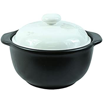The Elixir Eco Green Stovetop Ceramic Stew Pot Hot Pot Clay Pots with Color Lid Stockpot Cookware, 1.7 QT