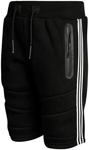 XS Sport Boys Fleece Athletic Short with Zipper Pockets, Black/Stripe Panel, Size Small'