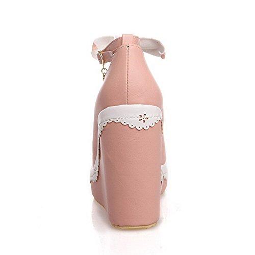 Allhqfashion Dames Pu Stevige Gesp Ronde Gesloten Hoge Hakken Pumps-schoenen Met Metalen Roze