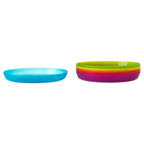 "IKEA - KALAS Children Color Plates, Set of 6, Diameter: 7 1/2""  Height 2"""