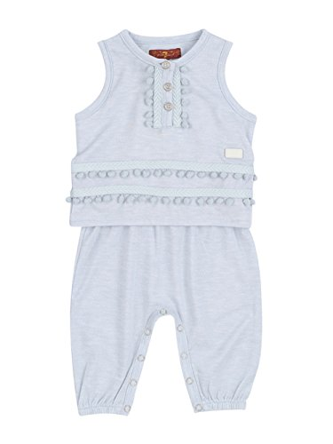 7 For All Mankind Girl's Sleeveless Henley Layered Snap Leg Elastic Bodysuit Onesie Pearl Blue 3-6 (7 For All Mankind Tops)