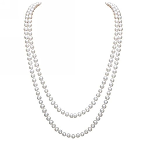 Merdia Elegant Women Lady Long White Created Pearl Sweater Necklace Beaded Necklace]()
