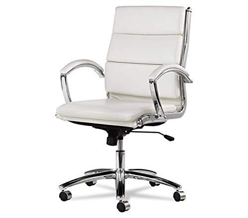 Premium Neratoli Mid-Back Swivel/Tilt Chair, White Faux Leather, Chrome Frame