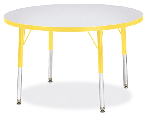 Berries 6488JCE007 Round Activity Table, E-Height, 36'' Diameter, Gray/Yellow/Yellow by Berries
