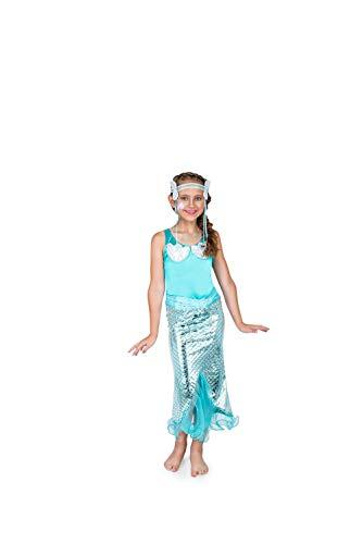 Mermaid Costume, Girls Princess Dress with Crown, Kids 5-6 Years, Medium