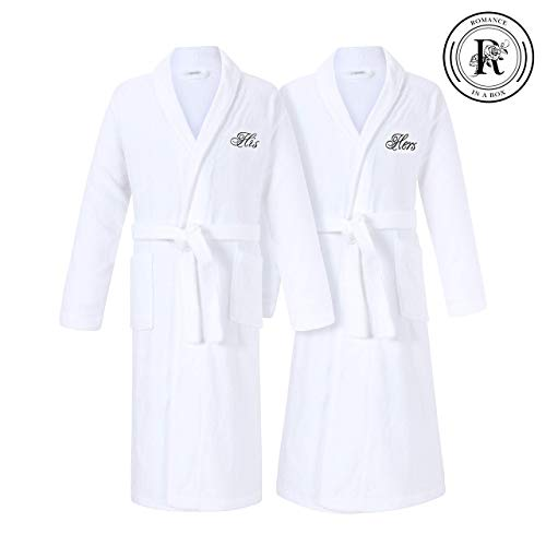 Romance Helpers His and Hers Robes Set | Set of 2 Terry Cotton Robes for Couples | Second Cotton Anniversary Wedding Engagement Gifts for Couples