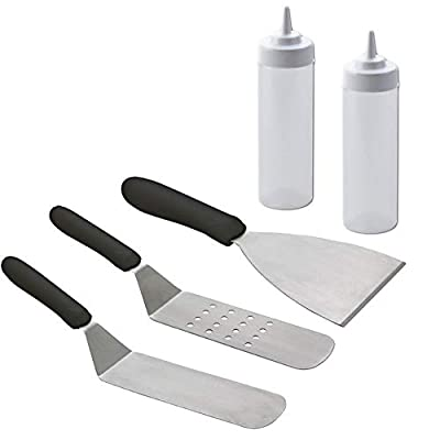 Tiger Chef 5 Pc Commercial Grade Grill Griddle BBQ Tool Accessories Kit –Stainless Steel Turner Spatula, Chopper Scraper, 2 Squeeze Bottles – for Flat Top Cooking, Grilling, Camping, Tailgating