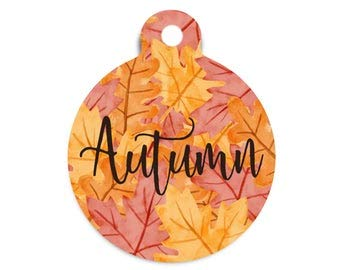 Breakking Fall Pet Id Tag, Maple Leaves Dog Tag, Autumn Dog Tag, Special Fall Cat Id Tag, Round Dog Tag for Dogs, Metal Pet Id Tag, Custom Fall Collar Tag