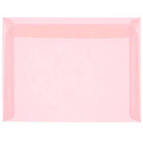JAM PAPER 9 x 12 Booklet Translucent Vellum Envelopes - Blush Pink - 25/Pack