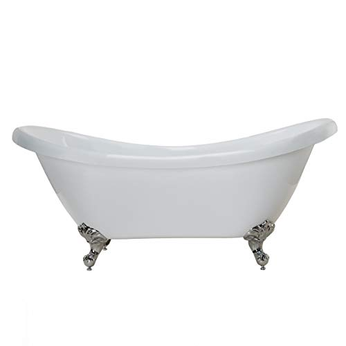 (Randolph Morris 70 Inch Acrylic Double Slipper Clawfoot Tub - No Faucet Drillings )