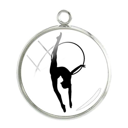 (Pendants -1Pc Artistic Gymnastics Pendants Charms 20mm Rhythmic Gymnasts Silhouette Picture Glass Dome Jewelry Accessories - GY209)