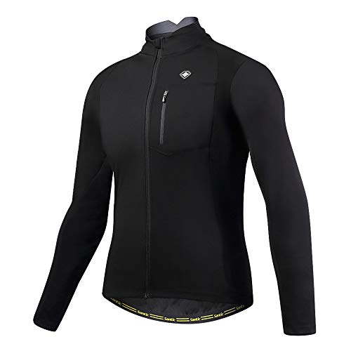Santic Bike Winter Jacket Windproof Fleece Thermal Warm UP Cycling Bicycle Jerseys Long Sleeves Black US M(CN L)