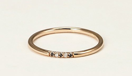 14k Rose Gold Black and White Diamond Wedding Band, Diamond Stacking Ring by Ice on Fire Jewelry