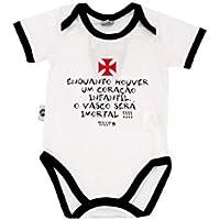 Rêve D'or Sport - Body Meu Coração É Vasco Unissex, G, Branco/ Preto