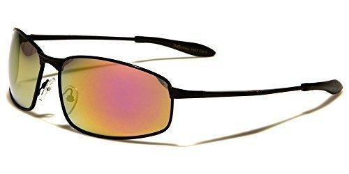 X-Loop HOMMES FEMMES FIN OVALE CADRE MÉTAL Lunettes de soleil parfait pour les sports cyclisme course ou conduite COMPLET UV400 Protection GRATUIT vibrant Hut pochette noir/orange violet tintée lentille