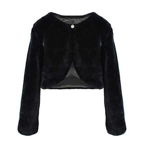Abbyabbie.Li Flower Girl Dress Coat,Girl Cozy Faux Fur Bolero Shrug Accessories Princess Cape (XL, -