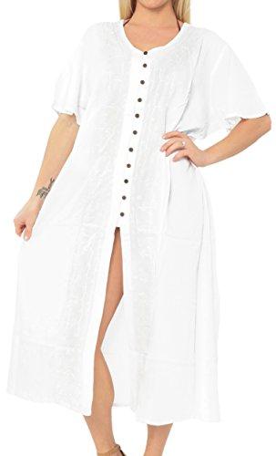 LA LEELA Ropa de Playa Ocasional del Tinte del Lazo del Traje de baño del Bikini de Las Mujeres Suelta Encubrir Vestido caftán Blanco_k808