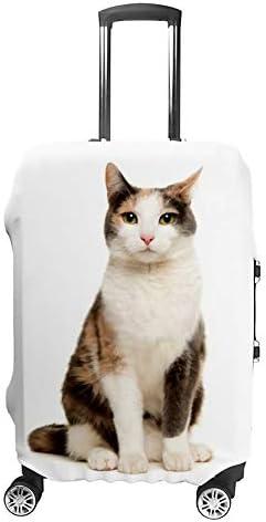 スーツケースカバー 伸縮素材 トランク カバー 洗える 汚れ防止 キズ保護 盗難防止 キャリーカバー おしゃれ 座っている猫 ポリエステル 海外旅行 見つけやすい 着脱簡単 1枚入り