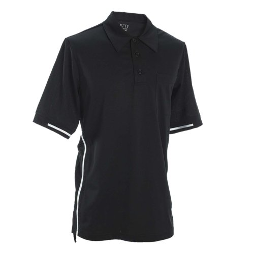 Adams USA Smitty Pro-Style Short Sleeve Umpire Shirt, Black with White Stripes, X-Large (Baseball Umpire Shirt)